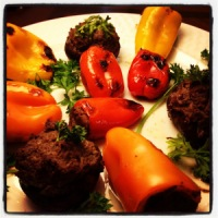 Grill-Roasted Liver-Stuffed Peppers and Mushrooms