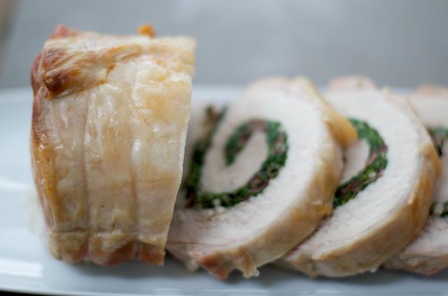 greek pork loin roulade