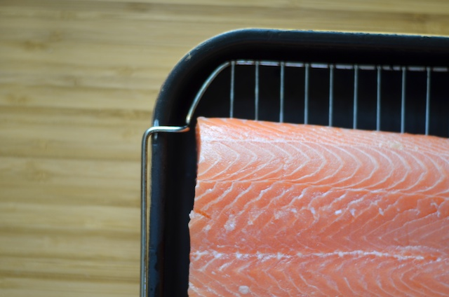 salmon on a baking dish