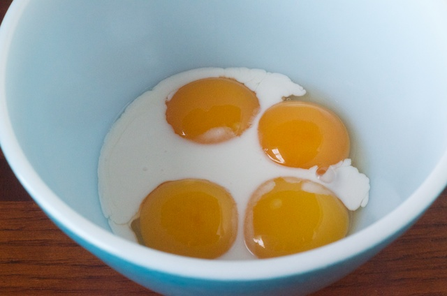 egg yolks with coconut milk