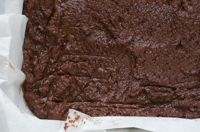 chocolate fudge recipe poured into pan