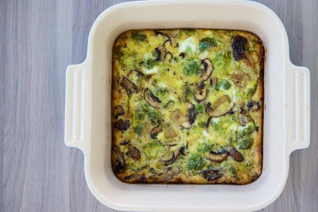 Sunday Broccoli-Mushroom Egg Bake Recipe (paleo, primal, gluten-free)