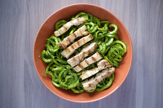 Chicken Pesto Pasta Recipe [paleo, primal, gluten-free]