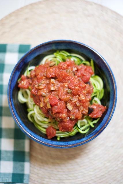 Zucchini Spaghetti alla Puttanesca Recipe [paleo, primal, gluten-free]