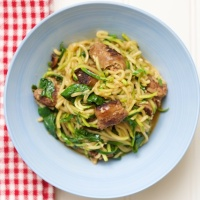 Chorizo and Spinach Zoodle Pasta