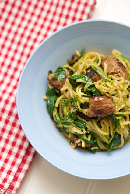 Chorizo and Spinach Zoodle Pasta Recipe [paleo, primal, gluten-free]