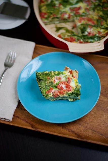 Spinach and Tomato Egg Bake Recipe [paleo, primal, gluten-free]