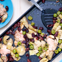 Sheet Pan Chicken, Artichoke, and Olive Bake