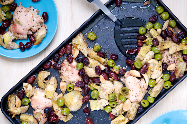 Sheet Pan Chicken, Artichoke, and Olive Bake Recipe [paleo, primal, gluten-free, keto]
