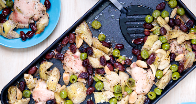 Sheet Pan Chicken, Artichoke, and Olive Bake Recipe [paleo, primal, gluten-free, keto]