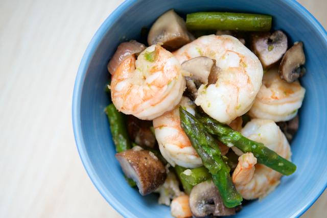 Shrimp, Mushroom, and Asparagus Sauté Recipe [paleo, primal, keto, gluten-free]