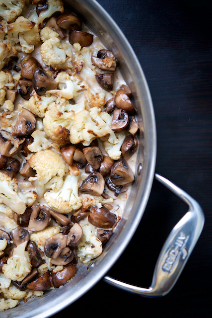 Creamy Roasted Cauliflower and Mushroom Sauté Recipe [paleo, primal, gluten-free, keto]