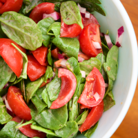 Spinach Tomato Salad with Creamy Greek Dressing