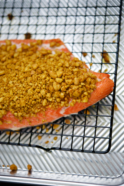 Macadamia and Curry Crusted Salmon Recipe [paleo, primal, gluten-free, keto]